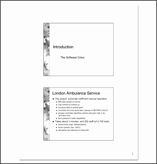 software engineering course outline format
