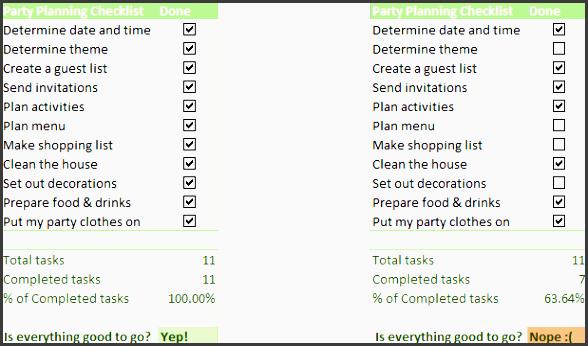excel checklist with data summary
