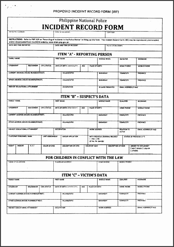 10 crime incident report template