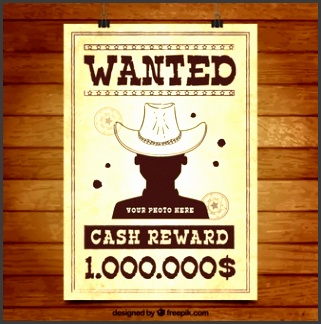 flat wanted poster of criminal with hat