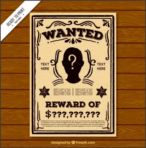 vintage wanted criminal poster template free vector