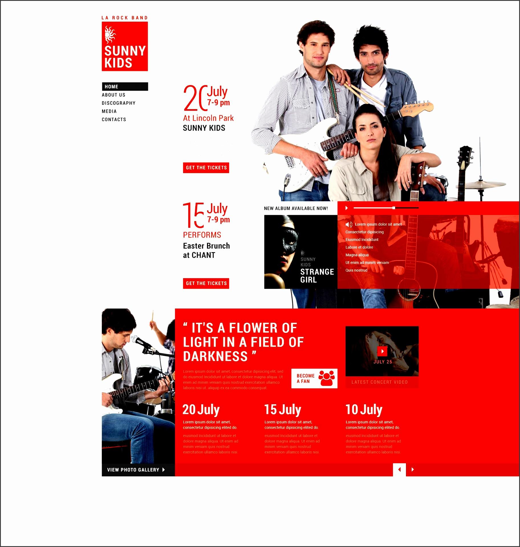 website design template best music band university school biography sounds track cd album photos