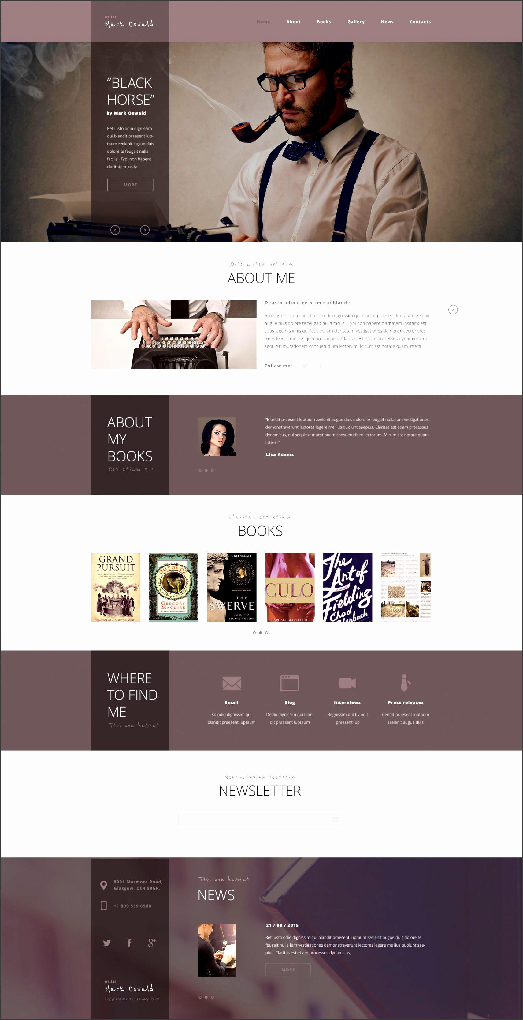website design template writer personal page feather ink books experience inspiration creative ideas biography
