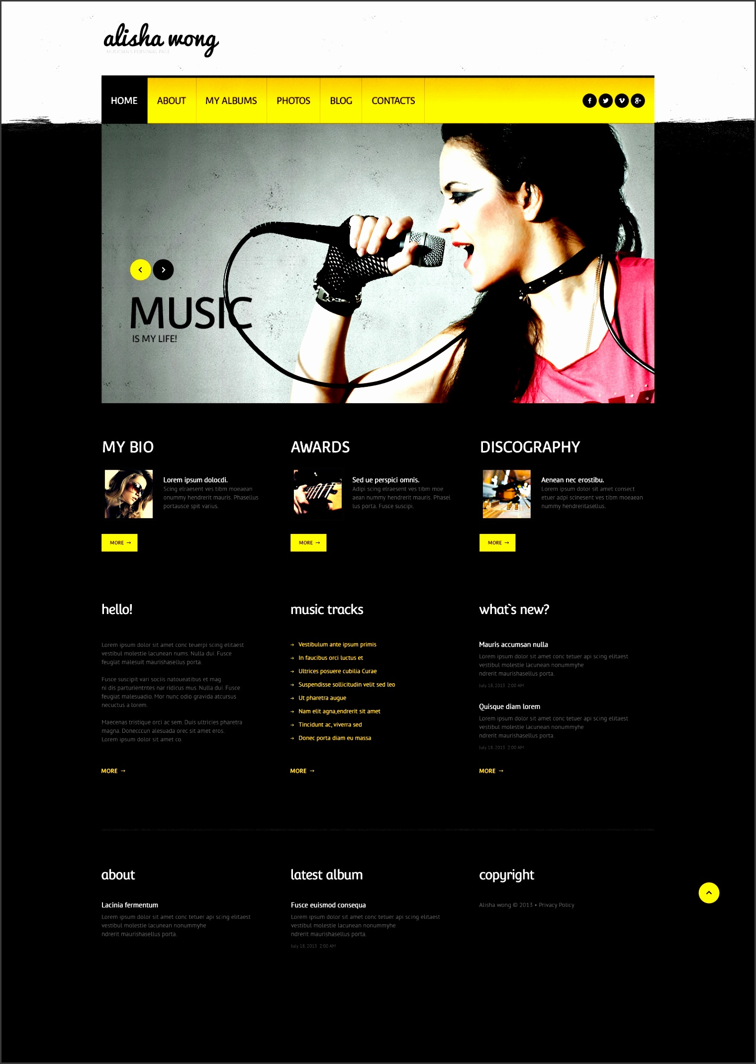 website design template personal page music singer musician song tune listening hits webpage angel