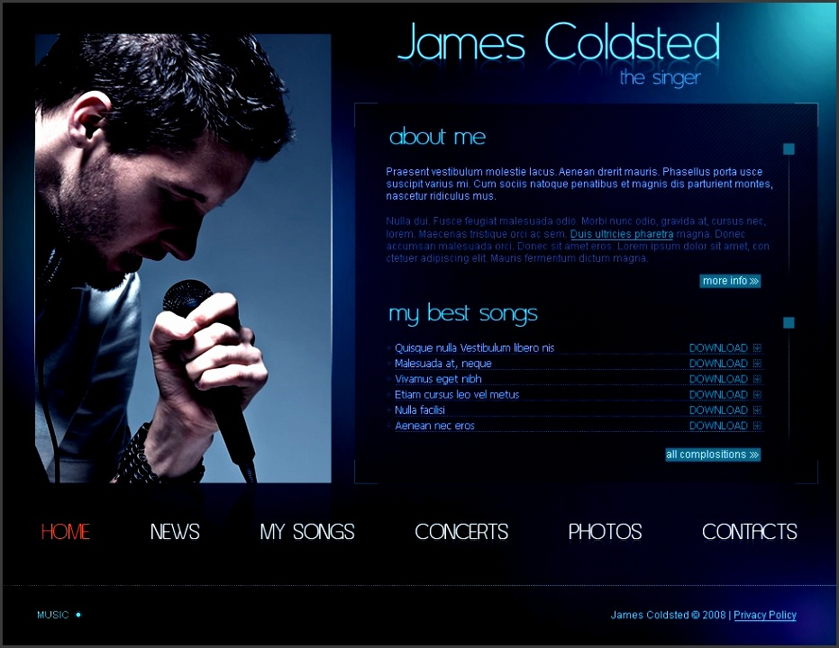 website design template song tune listening hits webpage angel brand new creative works events