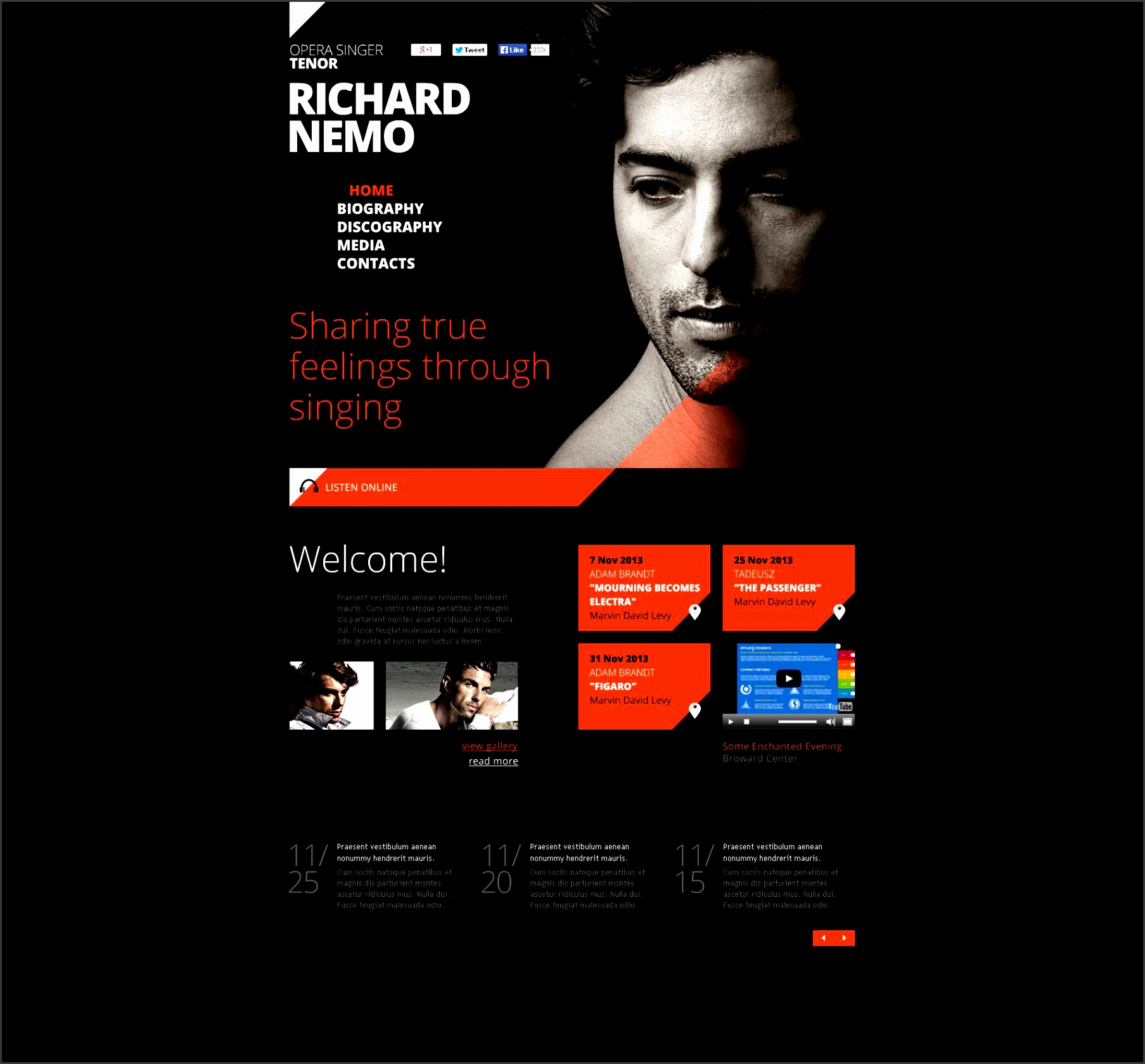 website design template singer personal page music musician song tune listening hits webpage new