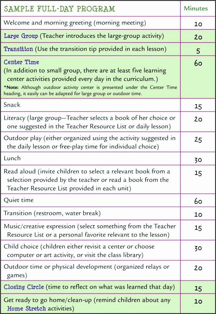 learn every day the preschool curriculum sample schedules
