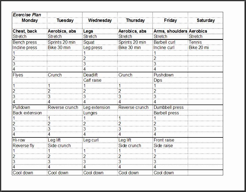 fitness schedule template xl