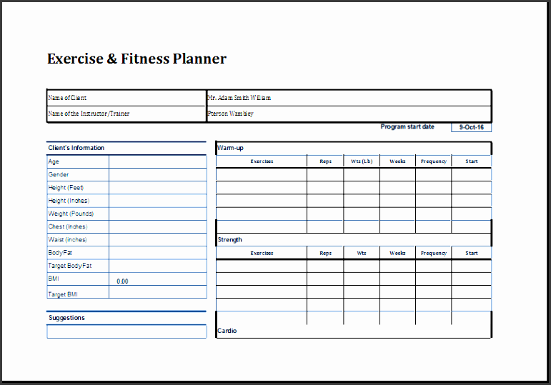 exercise and fitness planner template word document templates log bike machine all form
