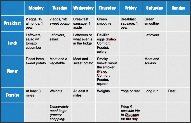 meal and exercise plan for the week1