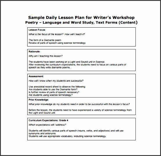 free daily lesson plan for writer s free pdf format template