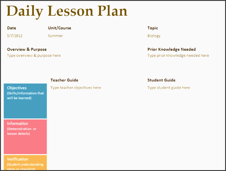 5  daily lesson planner template editable