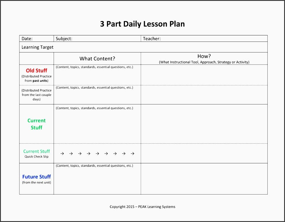 lesson planner 3 part daily template
