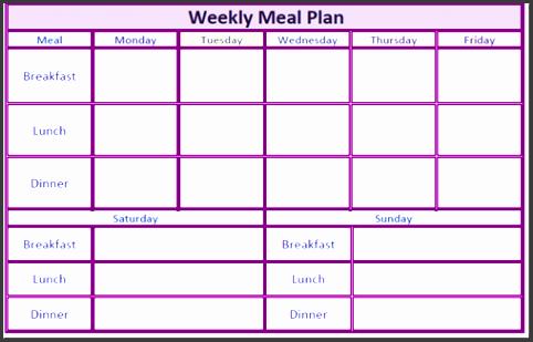 daily menu planner template 20 free menu planner