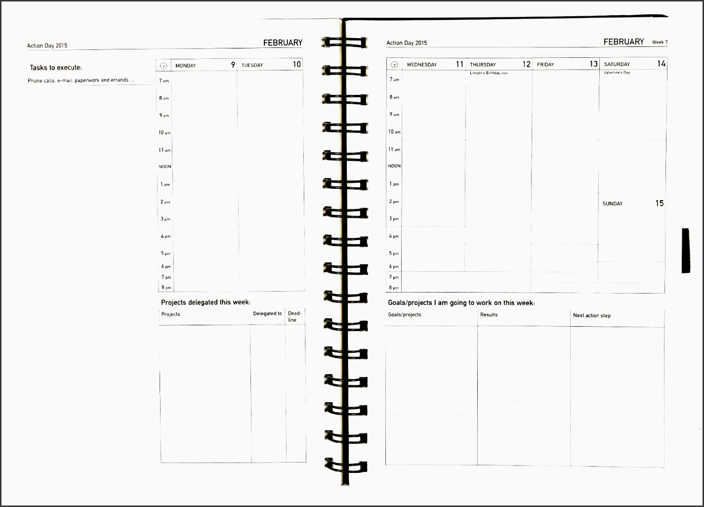 action day planner weekly layout
