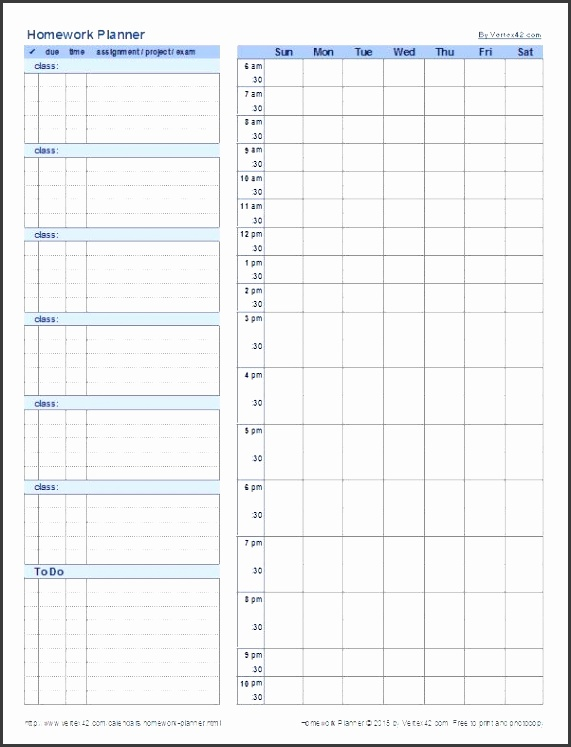 keep up with your homework using this free homework planner template from