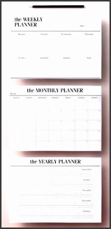 minimal planner agenda inserts 12 printable planners blank calendar pdf weekly schedule daily to do list diy planner black white