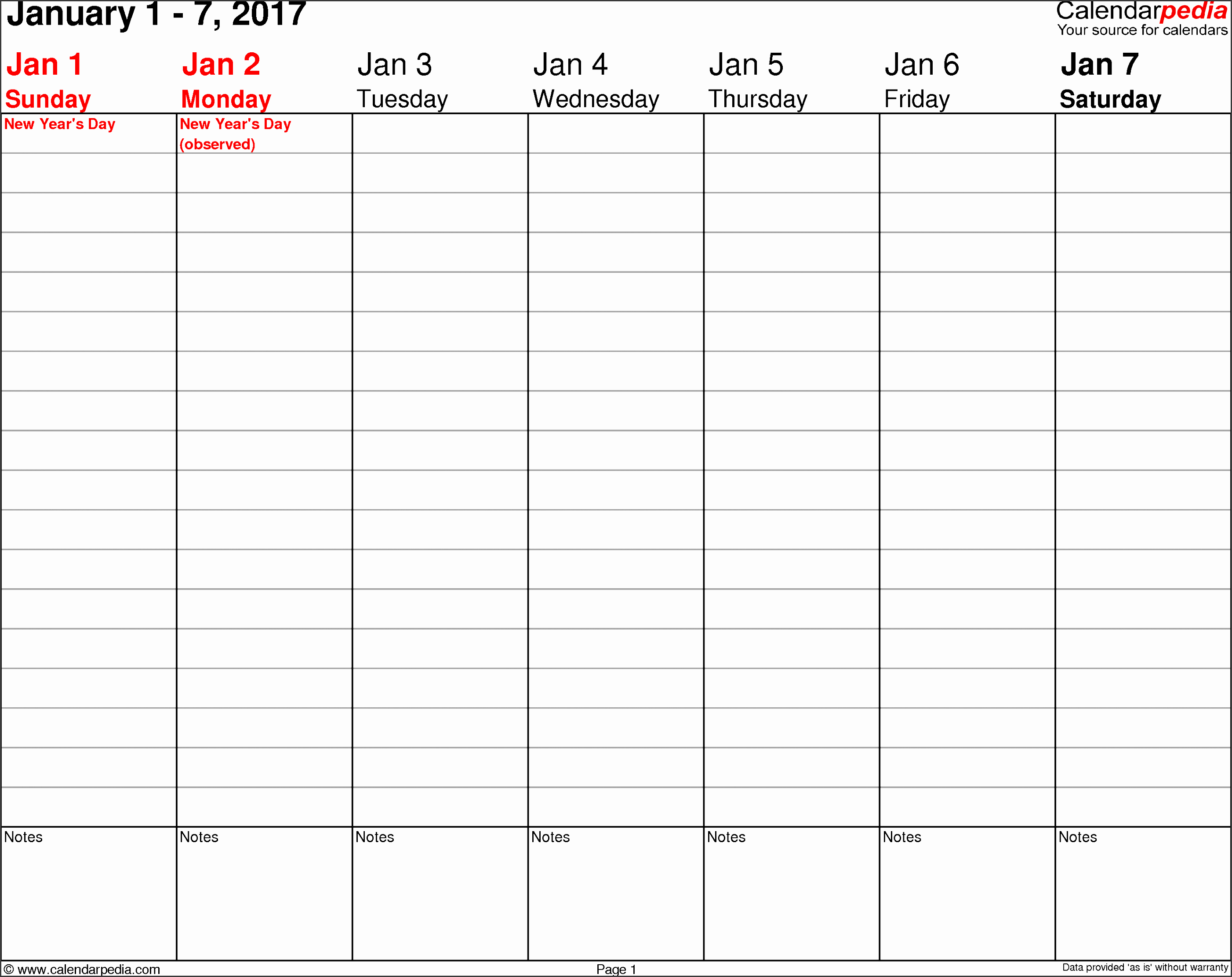 weekly calendar 2017 template for word version 3 landscape 53 pages no