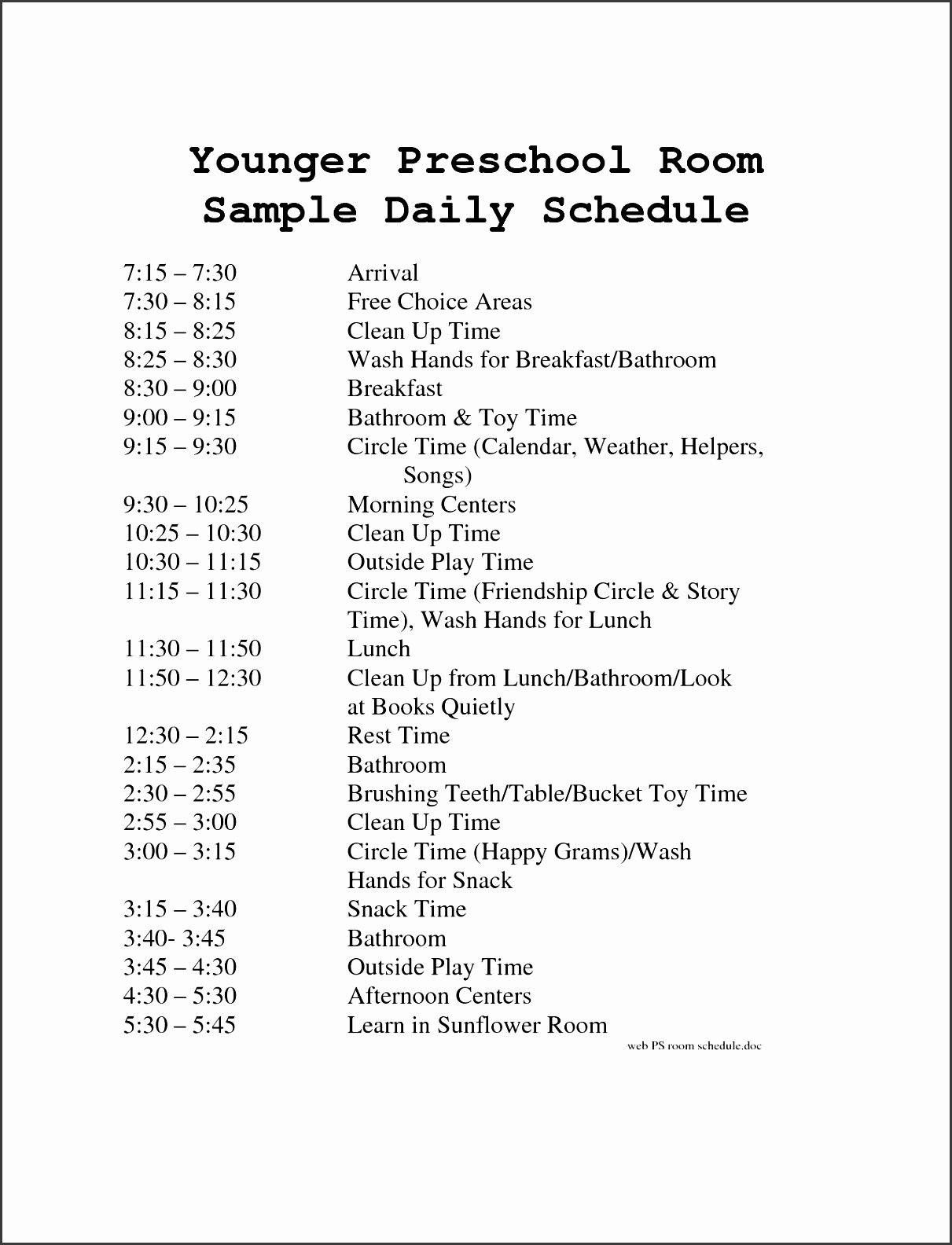 6 daily schedule sample sampletemplatess daycare schedule template example of preschool daily schedule pronofoot35fo Choice Image