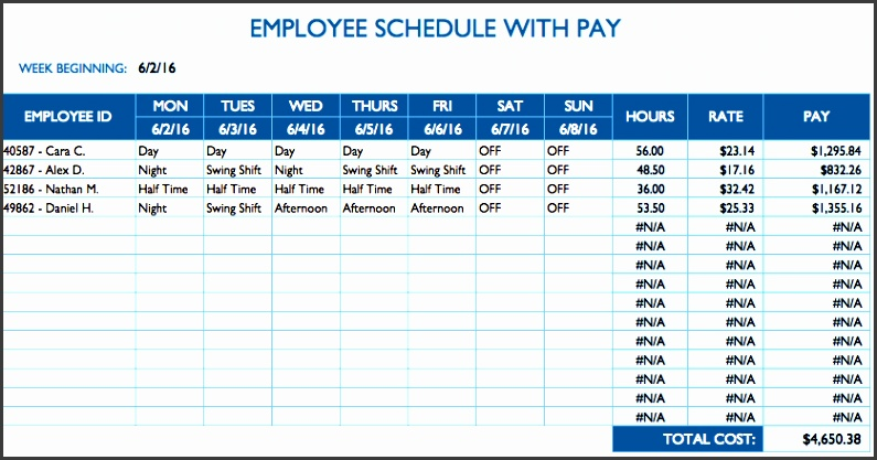daily employee schedule template