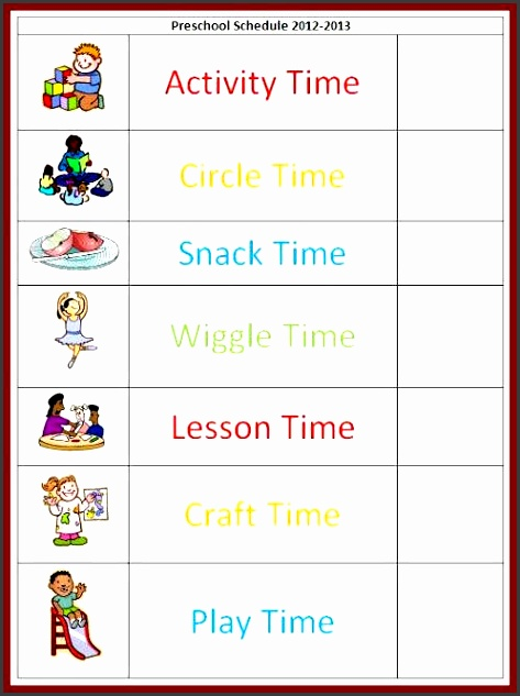 pin free preschool daily schedule template tattoo re s on