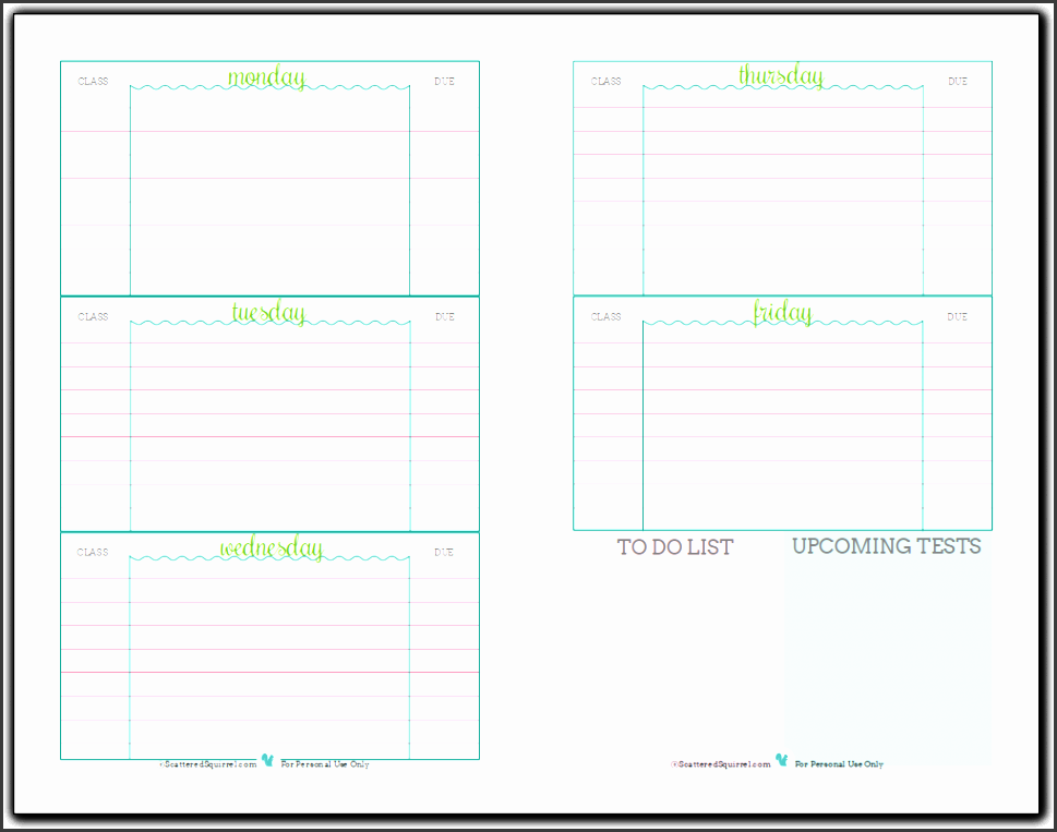 weekly student planner printable half size re mended for middle and highschool students