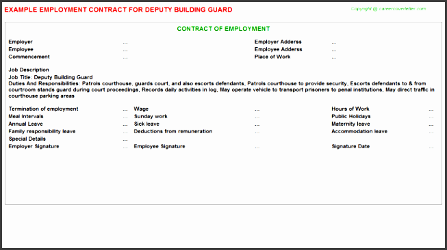 deputy building guard employment contract sample free example doc format for building and writing guide