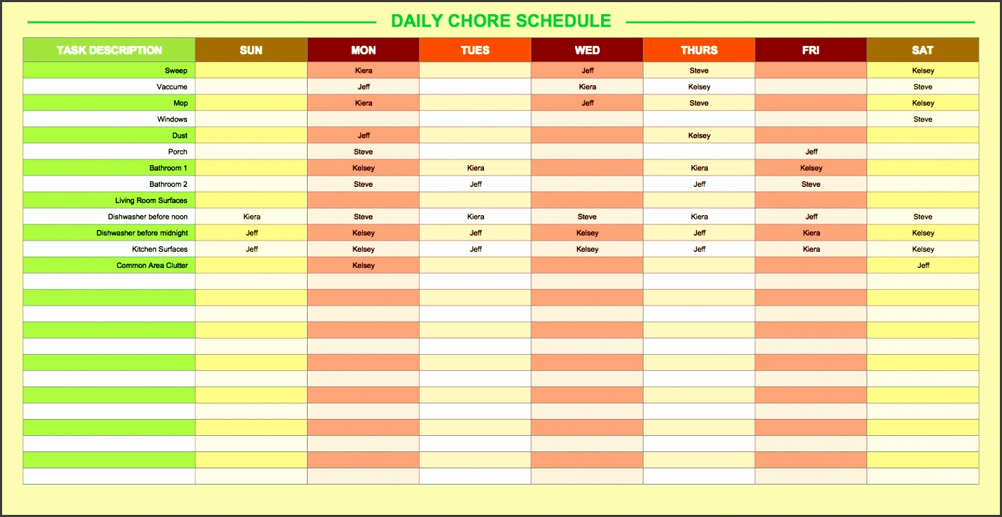 free daily schedule templates for excel smartsheet daily chore schedule template free daily schedule templates construction construction daily work log