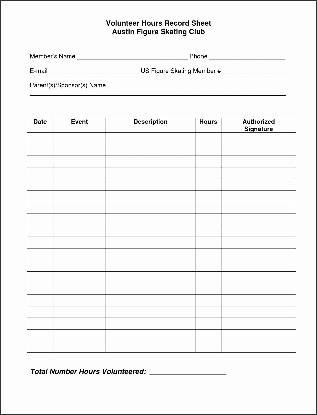 volunteer hours log sheet template