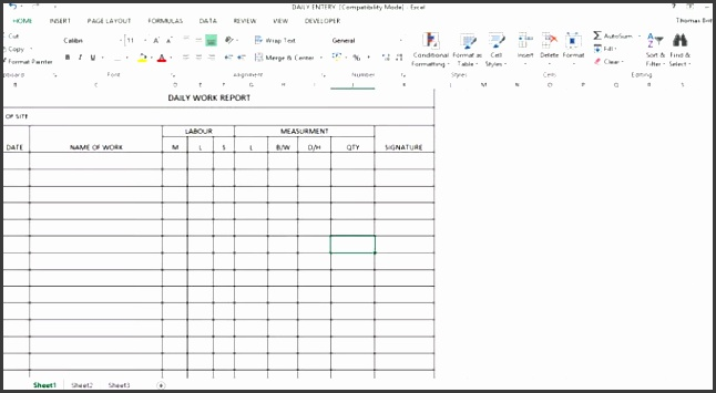 the excel template for daily work report