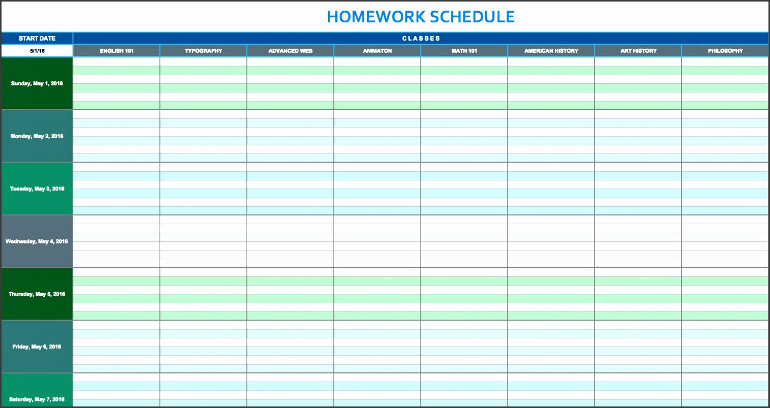 daily homework schedule template