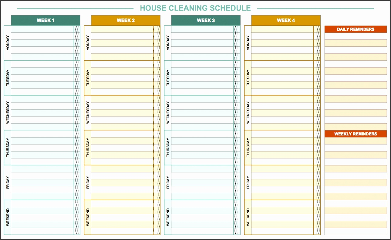 daily house cleaning template