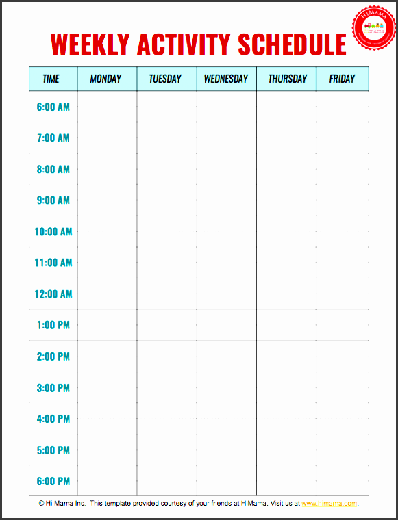 daycare weekly schedule template 5 day