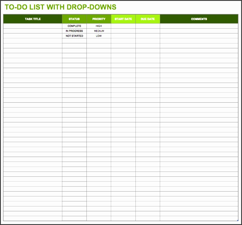 temp todolistwithdropdowns excel template