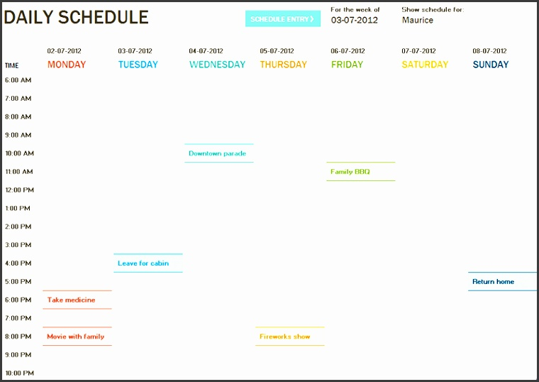 daily planner template sample