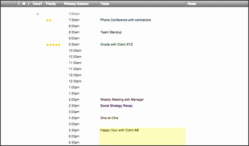 daily schedule templates in smartsheet
