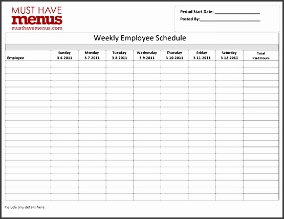 hotel employee shift schedule template