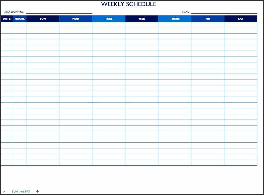 sun sat weekly work schedule template