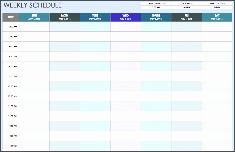 excel weekly calendar template weekly schedule sunthrusat 30min vhqalc