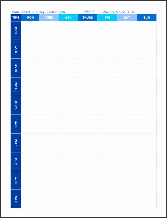 mon sun weekly schedule template 8 6 p m
