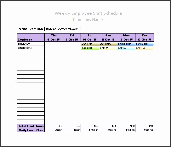 printable employee daily work schedule template excel