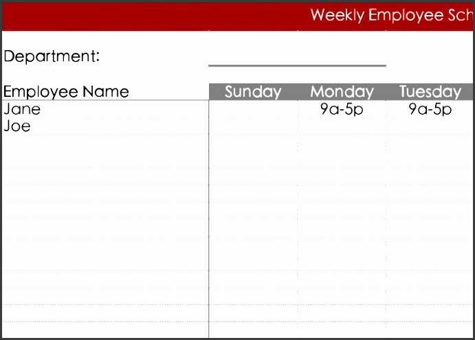 free daily work schedule template excel format