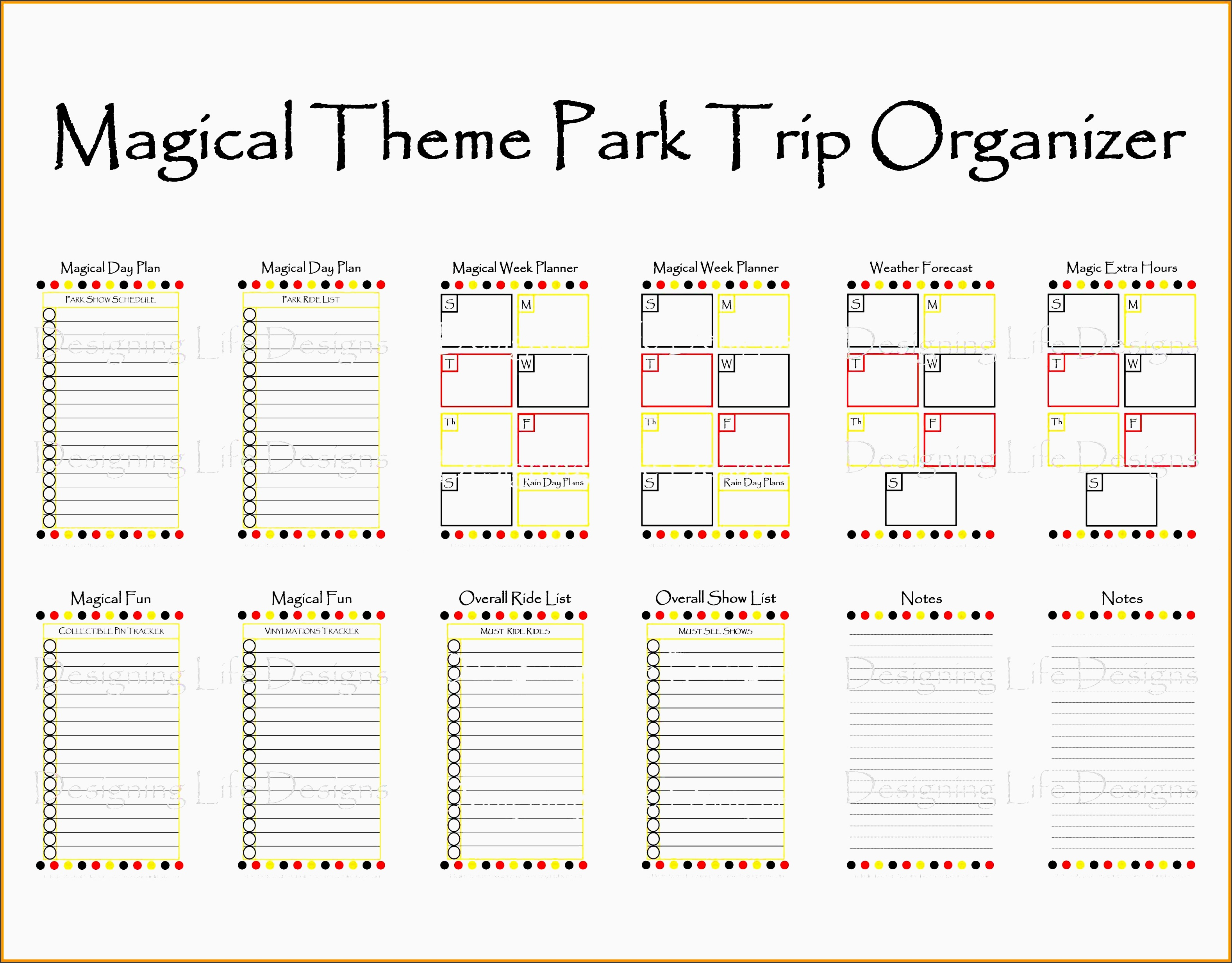 7 disney world itinerary template parts of resume sample
