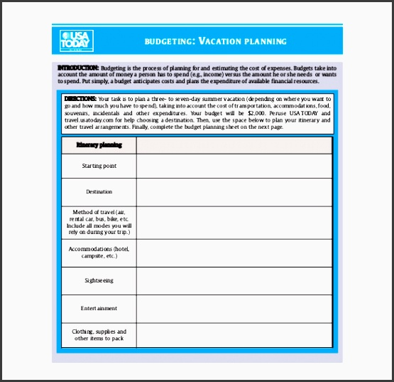 bud ing vacation planner template