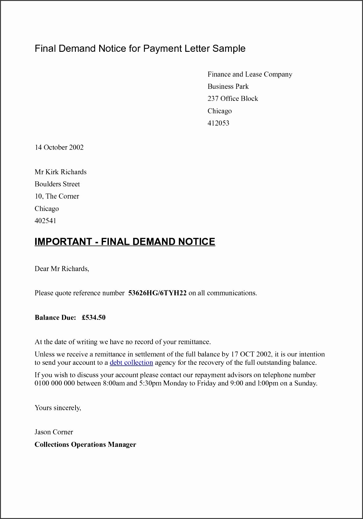 final payment demand letter sample