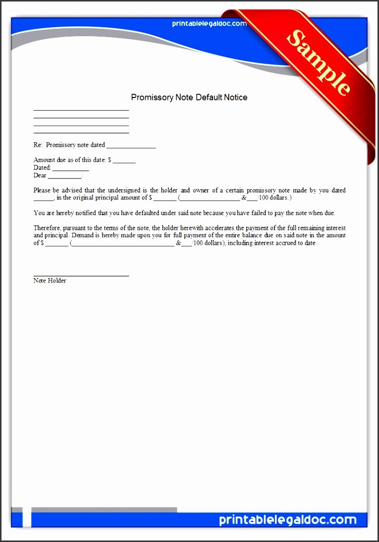 printable promissory note default notice form