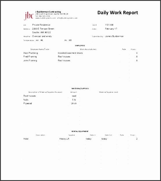 maintenance daily work report free