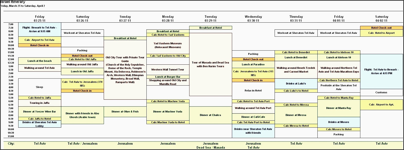 4+ Design Free Vacation Itinerary Planner In Excel ...