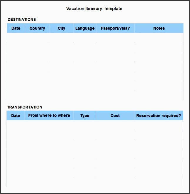 vacation itinerary template free