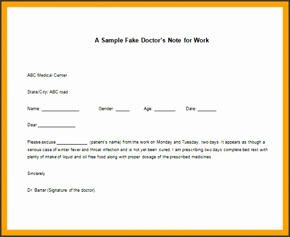 fake doctors note template for work fake doctors